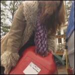 Gina Cranks & Revs the Volvo in Purple Boots