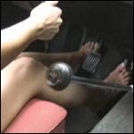 Damara Driving the Volvo Around Barefoot
