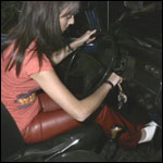 Kas Parking the Bug, Volvo & Coronet in Miss Sixty Leather Pants