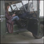 Kristen Trying to Start the 1973 Land Rover, 1 of 2