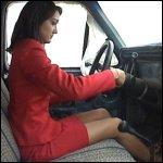 Penelope Stalled in her Bosses Car
