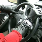 Veronica Driving the Rental in White Thigh High Boots