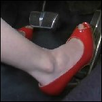 Marilyn Driving the Caddy in Peep Toe Patent Pumps, 1 of 3