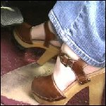 Scarlet Cranking the Marquis in Brown Clogs