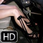 Aubrey Revs the VW Bus in Wedge Sandals