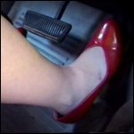 Scarlet Cranking Dodge in Red Pumps, 1 of 3