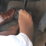 Kimberly Heart Drives the Monte in Loafers & Hose