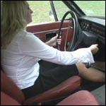 Daredevil Moving the Volvo in Peep Toe Stilettos