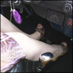 Scarlet Driving the Bug in Nylons & Wooden Sandals, 1 of 2