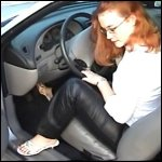 Scarlet Revving the Mustang in Leather Pants