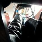 Annette Cranking Volvo in Black OTK Boots