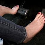 Madalynn Raye Cranks & Revs the Coronet in Bare Feet