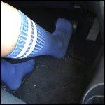 Tremble Driving in Blue Knee High Socks