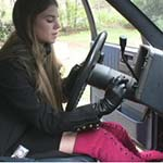 Kristen Cranking the Blazer in Gloves & Boots
