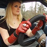 Evian Pedal Pumping the Monte Carlo in Leather Gloves & OTK Boots