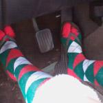 Prue Christmas Sock Crank & Rev in the Volvo