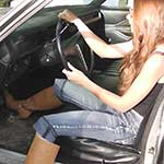 Gina Revving the Coronet in Tan Boots & Bare Feet