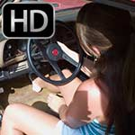 Dirty Diana Cranks & Revs the Camaro in Peep Toe Wedges