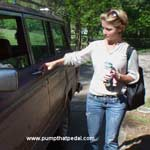 Kimberly Heart Starting Up the Jeep in Cowgirl Boots