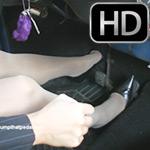 Mandie Driving the Bug in Sheer Hose & Pumps