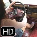 Mari Cranks & Drives the Jeep in Tan Wedge Sandals