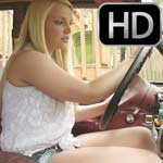 Ellie Mae Revving the Jeep in Pantyhose