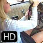 Barb Driving the Camaro in Tan Pantyhose, 1 of 2