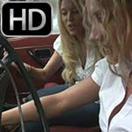Brooke & Gem Crank the Volvo on a Rainy Day