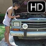 Kimberly Heart Barefoot Cranking the Jeep in Shorts