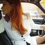 Vivian Ireene Pierce Driving the Coronet in White Suit & Shiny Pumps