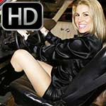 Raquel Derek Revving the Camaro at Night in Leather & Boots