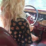 Riley Driving the Jeep in Tan Leather Wedges