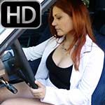Vivian Ireene Pierce Cranks & Drives in Peep-toe Heels & Business Suit