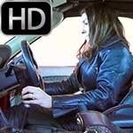 Kate Cranking the Stubborn MGF in Leather