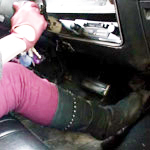 Cassandra Cold Starts the Coronet & Volvo in Gloves & Boots