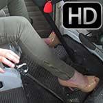 Jamie Lynn Driving the Bus in Patent Tan Peep Toe Stilettos