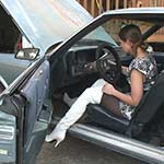 Prue Tinkering on the Monte Carlo in Thigh Highs
