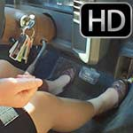 Scarlet Driving the Monte in Pantyhose & Ballet Flats