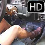 Tiffany Driving the Monte in Brown Leather Strap Sandals