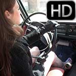 Kristen Working the Volvo Pedals in Wedge Sandals, 2 of 3