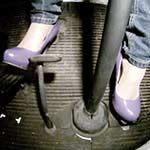 Tracy Blaze Driving the Bus in Purple Patent Pumps (feet only)