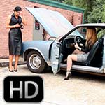 Britney & Cassandra Stranded at Work in Heels in the Monte