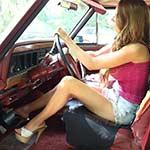 Gina Cranking the Jeep in Platform Sandals – #739