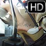 Hana Driving the VW Bus in Platform Sandals