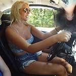 Cherry & Dakota Hot-N-Sweaty Flip Flop Drive in the Bug, 1 of 2