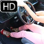 Gina Cranking the Renault in Open Toe Sandals – #735