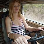Jamie Lynn Driving the Bus Barefoot w/ Orange Toenail Polish
