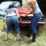 Brooke & Mari Trying Starting the Camaro in Cowgirl Boots