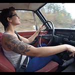 Jane Domino Driving the Volvo in High-Top Sneakers – #670
