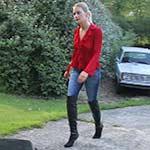 Vika Cranking the Renault in Black OTK Boots
